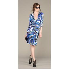 Blue Emilio Pucci V Neck Dress Emilio Pucci Abstract Print