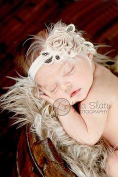 Baby headband, newborn headband, adult headband, child headband and photography prop The single sprinkled- SMALL LEAF rosie headband. $12.99, via Etsy.