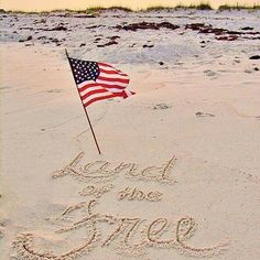 American flag on the beach land of the free fourth of july quotes, happy fo Fourth Of July Quotes, Happy Fourth Of July, 4th Of July, I Love America, God Bless America, A Lovely Journey, Doodle, Home Of The Brave, Land Of The Free