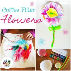 Use coffee filters and watercolours (or washable markers) to make one-of-a-kind flowers. Art for kids. Homeschool or elementary school.