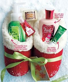 Slippers Filled with Bath and Body Works Items.