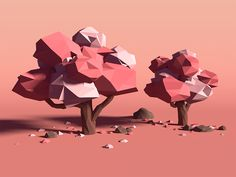 Low Poly Cherry Trees No.2