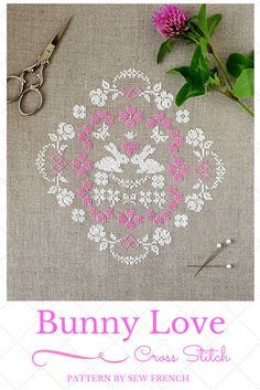 A sweet pattern just in time for Spring and Easter. Bunny Love Cross Stitch Pattern By Sew French. Embroidery. Handmade. Pretty. Sweet. Shabby Chic. Can be done in all white or pink and white on linen. Silk or DMC Floss. Hearts. Roses. Flowers. Needlecraft. Needlework. DIY. Craft. Sew. Stitch. Project. Romantic. French Cross Stitch. Scandinavian Cross Stitch. Swedish Cross Stitch. Can also be done with red silk or DMC floss for a Swedish folk look.