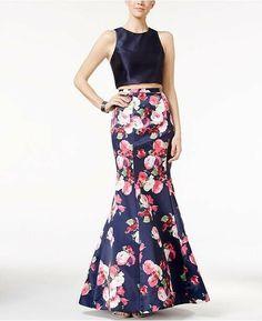 d699d5d5 Two-Piece Floral-Print Mermaid Xscape Gown Size 0 #fashion #clothing #