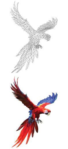 Parrot Perroquet Ara (Low poly art Polygonal)
