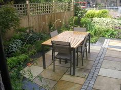garden design for terrace at leeds outdoor dining area designed by paperbark garden design