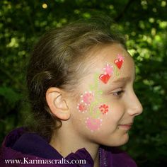 Karima's Crafts face paint painting flowers and hearts designs ideas for kids