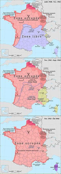 German (pink) and Italian (yellow) occupation zones of France: the zone occupée, the zone libre, the zone interdite, the Military Administration in Belgium and Northern France, and annexed Alsace-Lorraine. European Map, European History, World History, Ancient History, Historical Maps, Historical Pictures, Dream Pictures, Haiti, French History