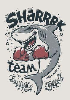 """Shark"" illustration, making of Cartoon Kunst, Cartoon Art, Hai Tattoos, Dessin Old School, Shark Drawing, Silkscreen, Shark Art, Art Graphique, Nautical Tattoos"