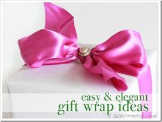 pretty gift wrapping ideas | also like to use satin ribbon – it looks so elegant. I look for it ...