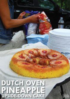 Dutch oven pineapple upside-down cake Dutch Oven Bread, Dutch Oven Camping, Cast Iron Dutch Oven, Cast Iron Cooking, Dutch Ovens, Oven Chicken Recipes, Dutch Oven Recipes, Cooking Recipes, Oven Cooking