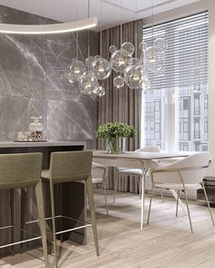 In love with this kitchen design and the way this glass chandelier compliments the room Shop our Palmina Glass Bubble Chandelier luxorhomedecorandlighting Luxe Decor, Luxury Home Decor, Luxury Interior, Interior Design, Modern Interior, Luxury Dining Room, Dining Room Design, Kitchen Design, Modern Dining Room Lighting