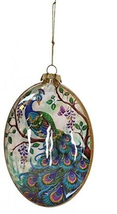 "5"" Regal Peacock Purple, Blue and Green Bird on Tree Branch Glass Disc Christmas Ornament Mark Roberts http://www.amazon.com/dp/B00OEBHURW/ref=cm_sw_r_pi_dp_FM3Lub14MBBKG"