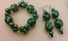 Turquoise and Black Earring and Bracelet set by BoldenBoutique, $22.00