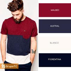 Remera con franjas de gran combinación, predominan los azules y el rojizo. ¡Dale like si la usarías!   #PrendeteAlColor