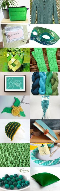 Gorgeous Greens by Jen on Etsy--Pinned with TreasuryPin.com #annehermine #big cosmetic bag