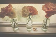 Here's that addiction to flowers in glass jars again hehe.