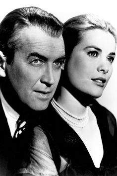 On old portrait of #JamesStewart and #GraceKelly ||| Memory book of the clasic #Hollywood