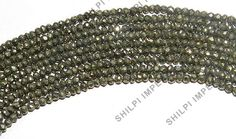 """1PC 14"""" Natural Gold Pyrite 3x4mm rondelle faceted gemstone elegant beads strand"""