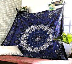 Royal Palace Blue Purple Mandala Star Bohemian Bed Wall Tapestry