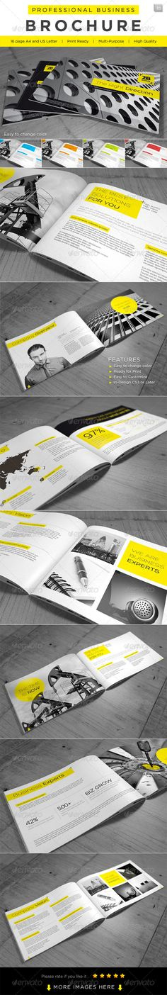 This is a 16 page professional In-Design brochure perfect for corporate business that needs clean, professional, modern brochure template design.