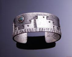 Philander Begay Navajo Silver Royston Turquoise Pueblo Petroglyph Cuff Bracelet #PhilanderBegay