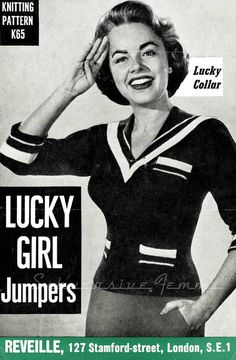Lucky Girl Sailor Jumper c. 1950s  vintage by SubversiveFemme, $2.00 have my MiL knit this for me, most likely in black with white trim, or WAIT, penn state blue with white trim would be even better.  :)