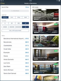 Expedia, filters, sidebar, search, options, iPad