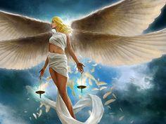 Девушка ангел с белыми крыльями с тогой на теле держит чаши весов в руках, паря в небе