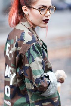 Le Happy wearing army jacket from the Vintage Twin