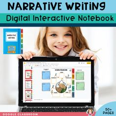 Narrative Writing Digital Interactive Notebook. This 50  page Google Slides product is designed to be a one-stop-shop for teaching narrative writing. The digital interactive notebook is divided into 5 sections, 1: Narrative Writing Structure and Language Features 2: Narrative Writing Prompts, Narrative Planning Graphic Organizers for Narrative Writing, My Narrative, Editing Checklists, Narrative Structure Checklist, with Differentiation opportunities #tpt #sarahannescreativelassroom