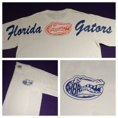 Florida Gators White Comfort Colors Monogrammed Tee (Long or Short Sleeve) on Etsy, $28.99