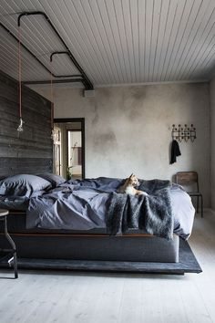 Industrial style bedroom with cozy bed and minimalistic decor
