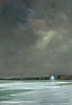 """Anne Packard """"Winter's Night"""" 8) Presenta un muy alto nivel de habilidad artística 2) Expresa emociones de soledad debido a la imagen y colores que el artista utiliza 15) Es un paisaje o imagen que puede verse en la vida vista de forma dramatica y emocional"""