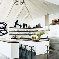Wood shelves against white kitchen (This Old House) Beach Kitchens, Home Kitchens, Rustic Kitchens, Sweet Home, Open Kitchen, Kitchen White, Nice Kitchen, Design Kitchen, Cozy Kitchen