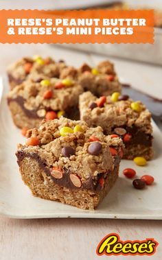Can you spot your two favorite Reese's Peanut Butter Cup products in these chocolate filled peanut butter polka dot bars? Go for two with Reese's Pieces and Reese's Peanut Butter to be the MVP of your game day party.