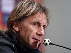 Peru's national football team head coach, Argentine Ricardo Gareca speaks during a press conference in Lima, Peru. Peru will face Paraguay in a FIFA World Cup Russia 2018 qualifier football match on Nov. 13.   Cris Bouroncle, AFP/Getty Images