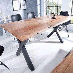 MAMMUT X fekete és akác étkezőasztal vastagság) Industrial Interior Design, Industrial Interiors, Design Tisch, Loft Interiors, Loft House, Loft Design, Solid Wood Furniture, Interior Architecture, Living Room Decor