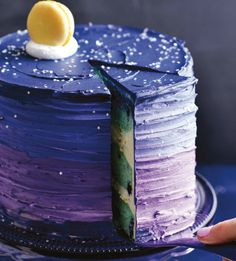 Once in a Blue Moon Cake - Sweetapolita Pretty Cakes, Beautiful Cakes, Amazing Cakes, Mooncake, Cake Cookies, Cupcake Cakes, Party Cupcakes, Theme Galaxy, Galaxy Cake