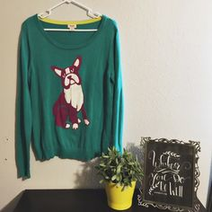 Adorable Boston Terrier Mossimo sweater Worn once. Super cute and fun!   : Same day shipping before 5pm CST. : Reasonable offers welcome. : Comes from pet/smoke free home. : No trades. Mossimo Supply Co. Sweaters Crew & Scoop Necks