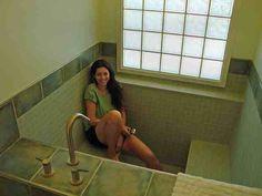 Roman style bath tub / built in tile bathtub/shower. Don't think enough space