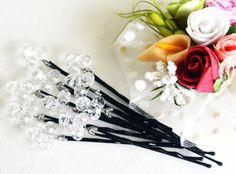Swarovski clear crystal hair pin wedding bridal hair by sestras