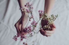 floral her blossom hands soft bloom flower