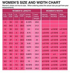 Womens Shoe Size Conversion Chart Us Uk European And Anese Width Length