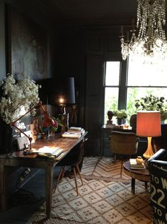 fun desk, mix of rugs, comfortable chairs, view, chandelier - the mix