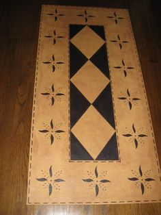 Timeless Floorcloths - Floorcloth Gallery - May House & Diamond. Colors - Yellow Ochre and Black.