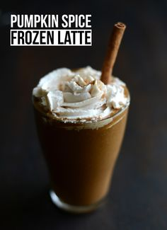 Pumpkin Spice Frozen Latte with Vegan Whipped Cream
