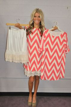 Great idea for all those cute dresses that are just a little too short! Modern Vintage Boutique - Coral Dreamy Chevron 3/4 Sleeve Dress, $49.00 and skirt extender- <3 !