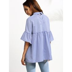 SheIn(sheinside) Blue Striped Ruffle Sleeve Babydoll Blouse (930 INR) ❤ liked on Polyvore featuring tops, blouses, ruffle collar blouse, blue blouse, white blouse, white top and white ruffle blouse