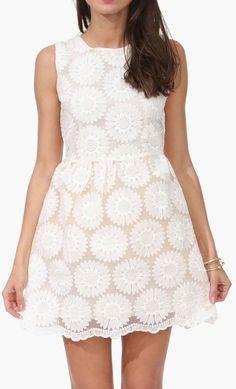 White Daisy Dress in Beige